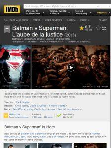 comment reconnaître les vrais et les faux ultra bluray 4k - Batman v Superman Laube de la justice 2016 IMDb Google Chrome 225x300 - [UHD] Comment reconnaître les vrais et les faux Ultra Bluray 4K, voici la vérité sur les 4K en vente début 2017 - idroid.fr